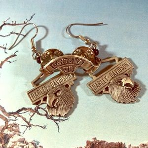 Vintage Harley Davidson earrings and Daytona pin